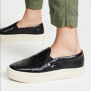 Soludos Black Embossed Croc Bondi Platform Sneaker